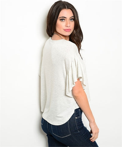 Oatmeal Flutter Sleeve High Low Top- Back View