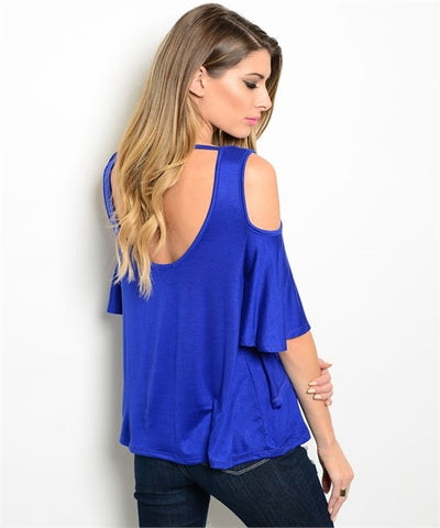 Royal Blue Cold Shoulder Top- Back View