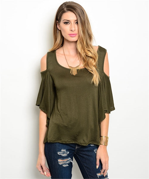 Olive Green Cold Shoulder Top with Short Flutter Sleeves