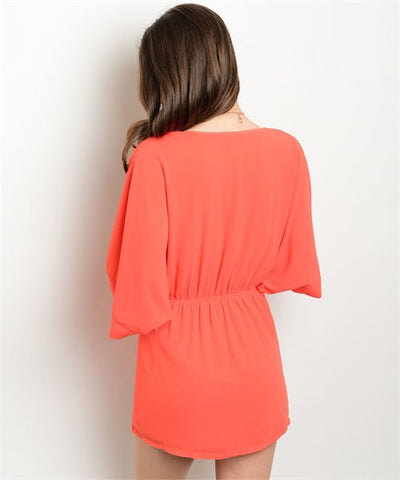 Tomato Red Orange Dolman Sleeve Mini Dress- Back View