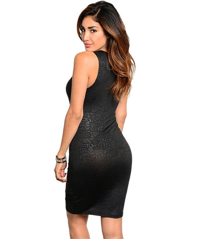 Black Lace Inset Bodycon Dress
