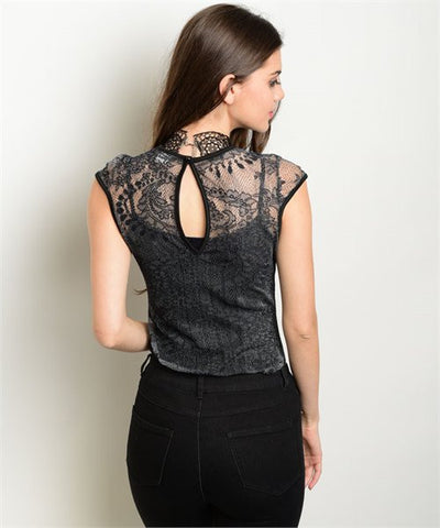 Charcoal See-Through Lace Bodysuit with Back Keyhole