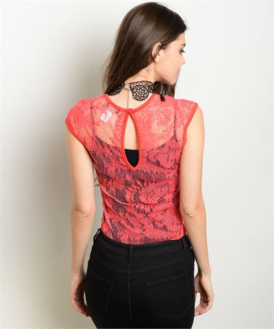 Coral See- Through Lace Bodysuit with Back Keyhole
