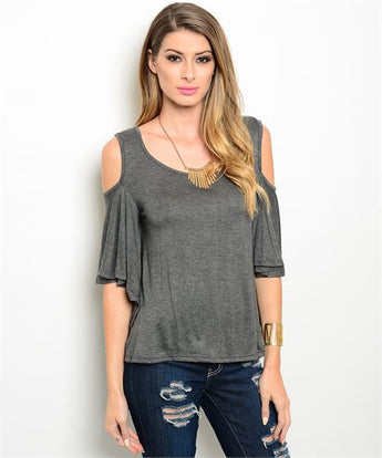 Charcoal Gray Cold Shoulder Top