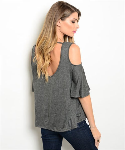 Gray Cold Shoulder Top- Back View