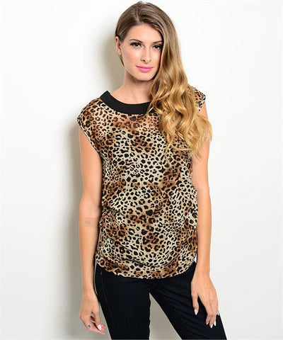 Brown Animal Leopard Print Blouse
