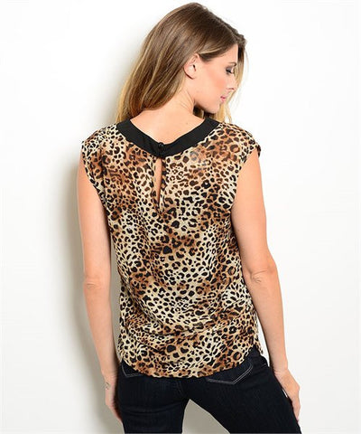 Brown Animal Leopard Print Blouse with Back Keyhole