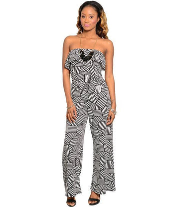 Black & White Geometric Halter Jumpsuit