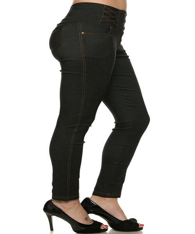 Black High Waist Jeggings-Side View
