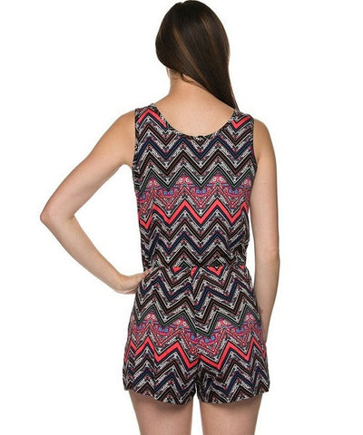 Black and Coral Chevron Print V-Neck Romper- Back View