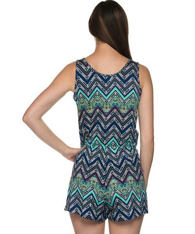 Blue and Green Chevron Print V-Neck Romper- Back View