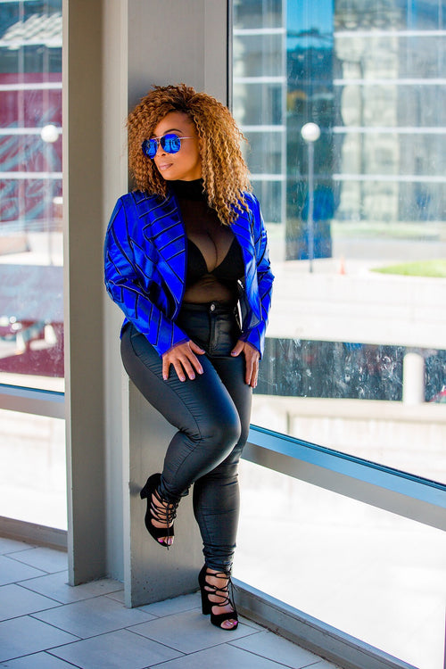 Electric Blue Halogram Mesh Jacket