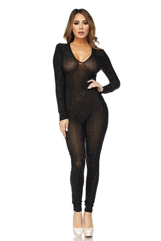 Sneak-A-Peak V-Neck Rhinestone Jumpsuit