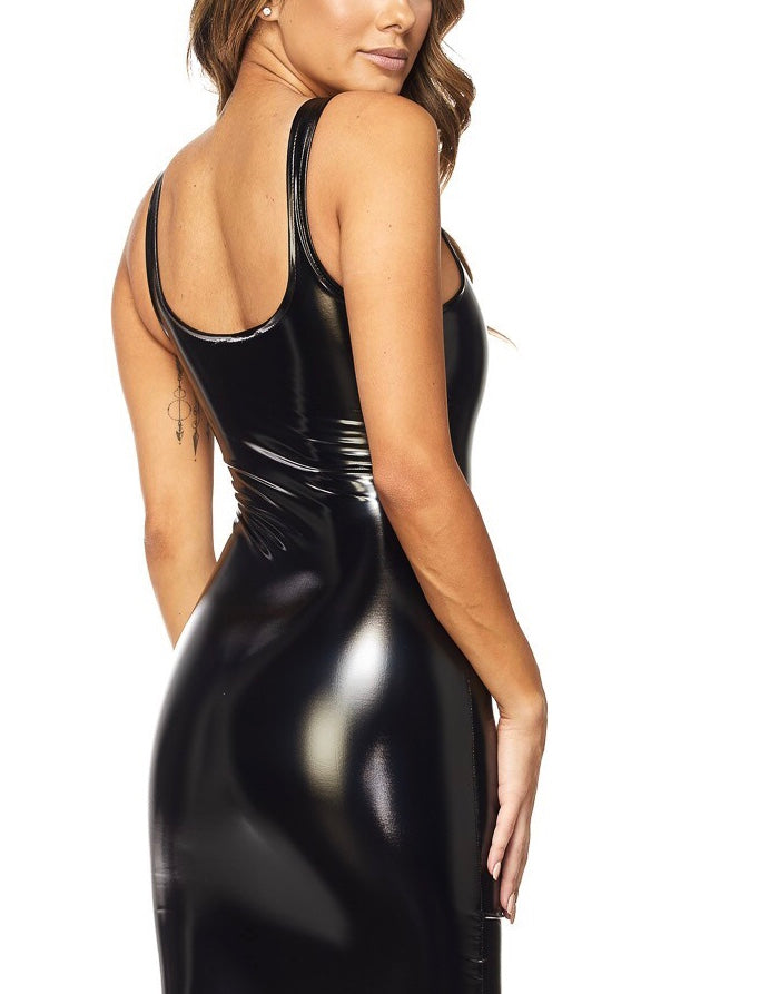 Blacque Licorice Wetlook Bodycon Dress
