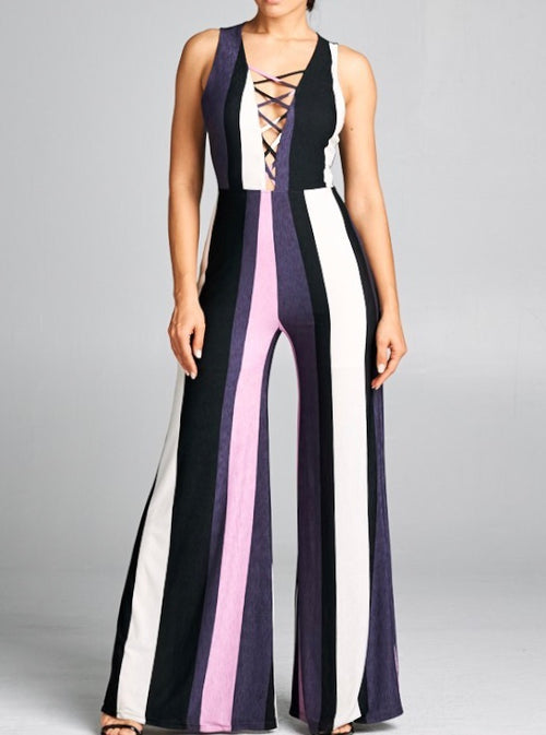 Very Berry Stripe Palazzo Jumpsuit
