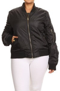Satin Bomber Jacket w/zipper closure