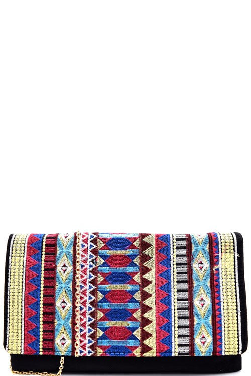 Aztec Embroidered Suede Clutch