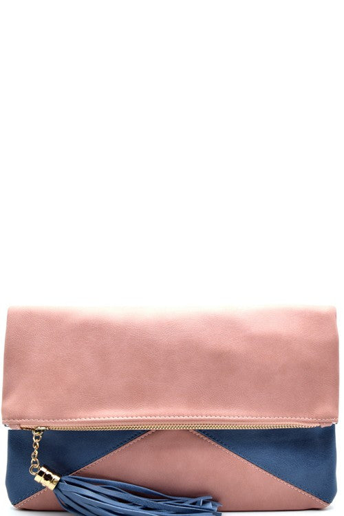 Color Block Flap Clutch