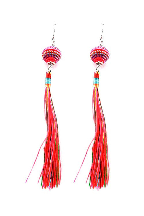Long Wide Thread Ball and Tassel Hook Earring