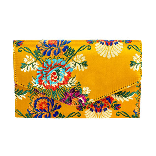 Satin Embroidered Clutch Bag