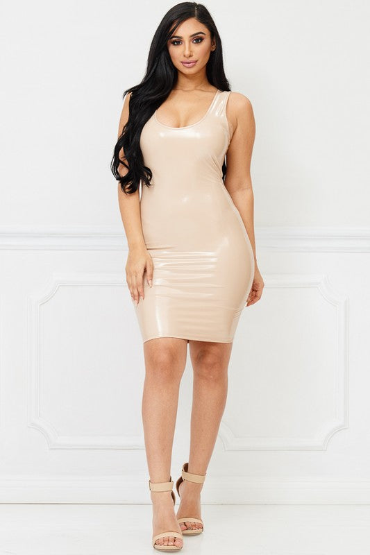 Purely Nude Leather Bodycon Dress