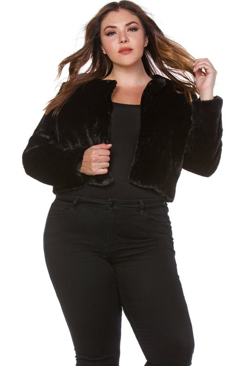 Blacque Panther Faux Fur Crop Jacket