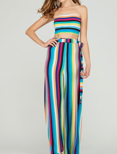 Tropical Fusion Stripe Two Piece Pant Set