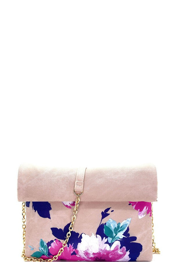 Madison West Flower Print Roll-Up Clutch