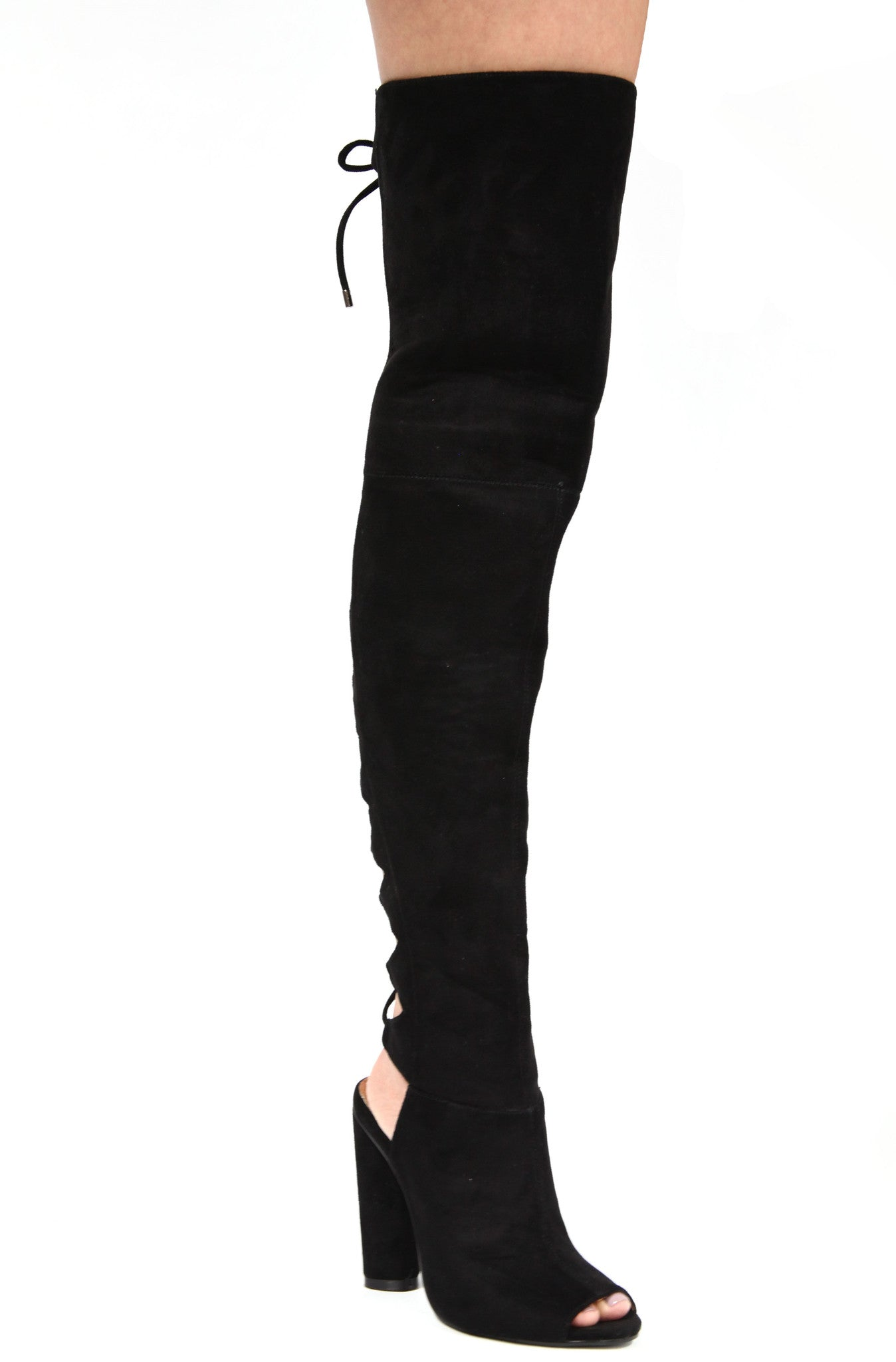 Black Back Lace Up High Thigh Boot