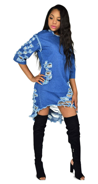 Bang On Blue Distressed Denim Dress