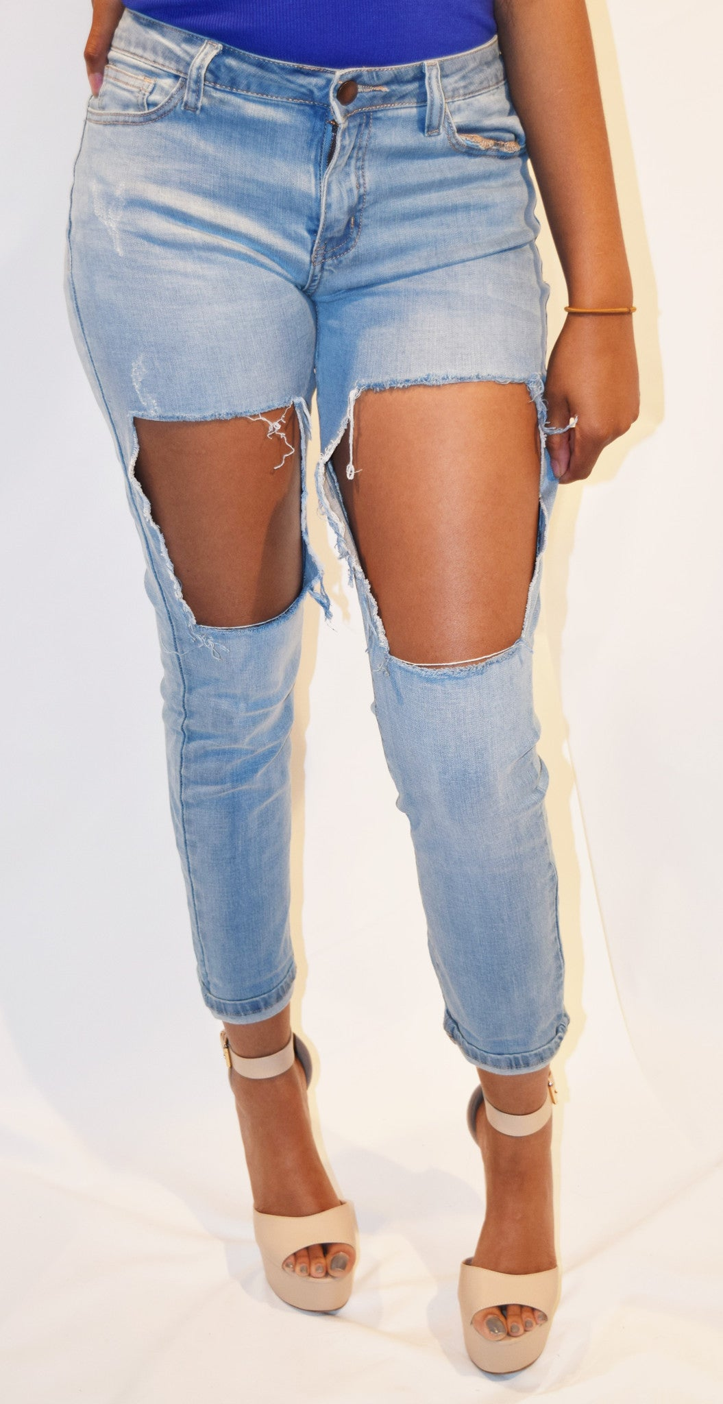 Gone Off the Rip Boyfriend Distressed Jean - Blacque Onyx Apparel