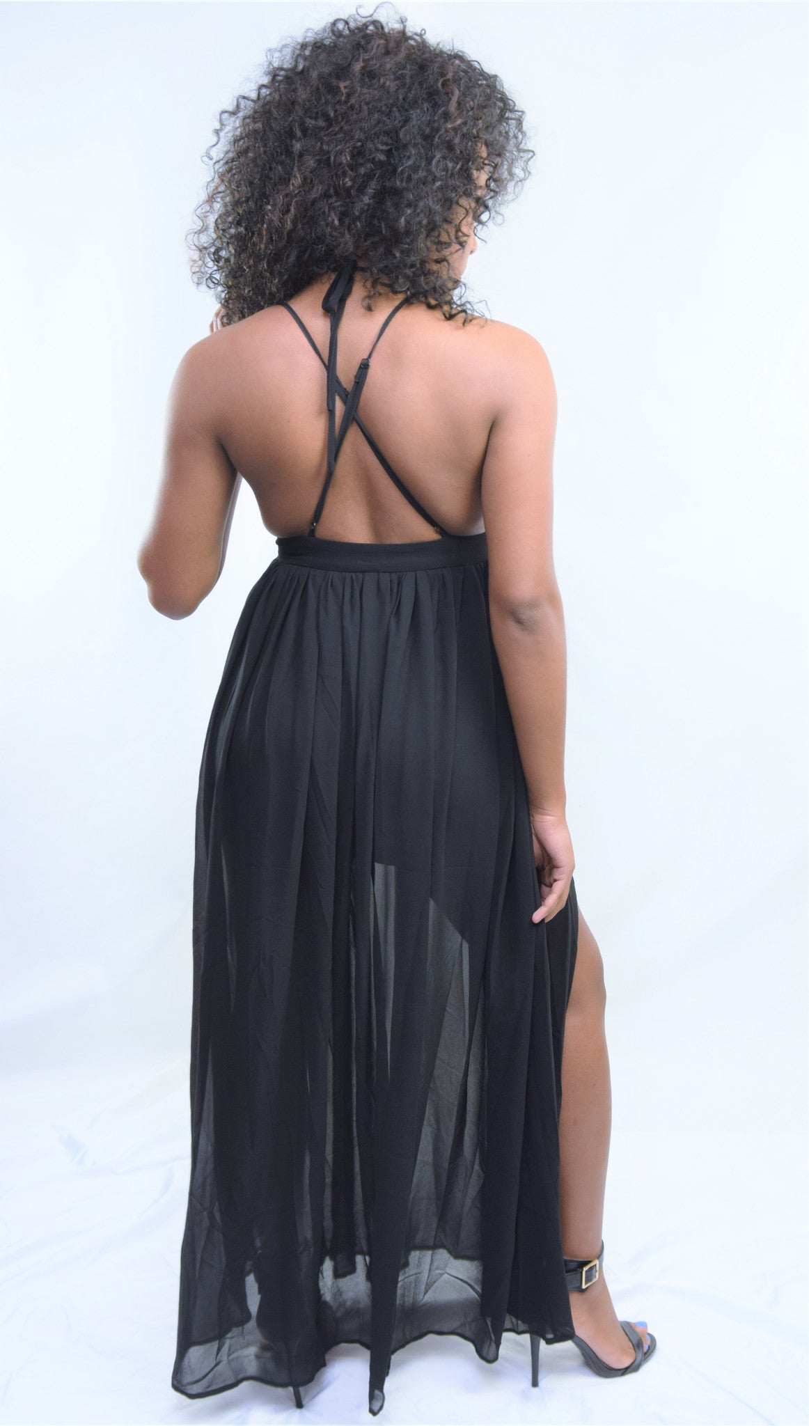 The Get Away Solid V Neck Open Back Maxi Dress