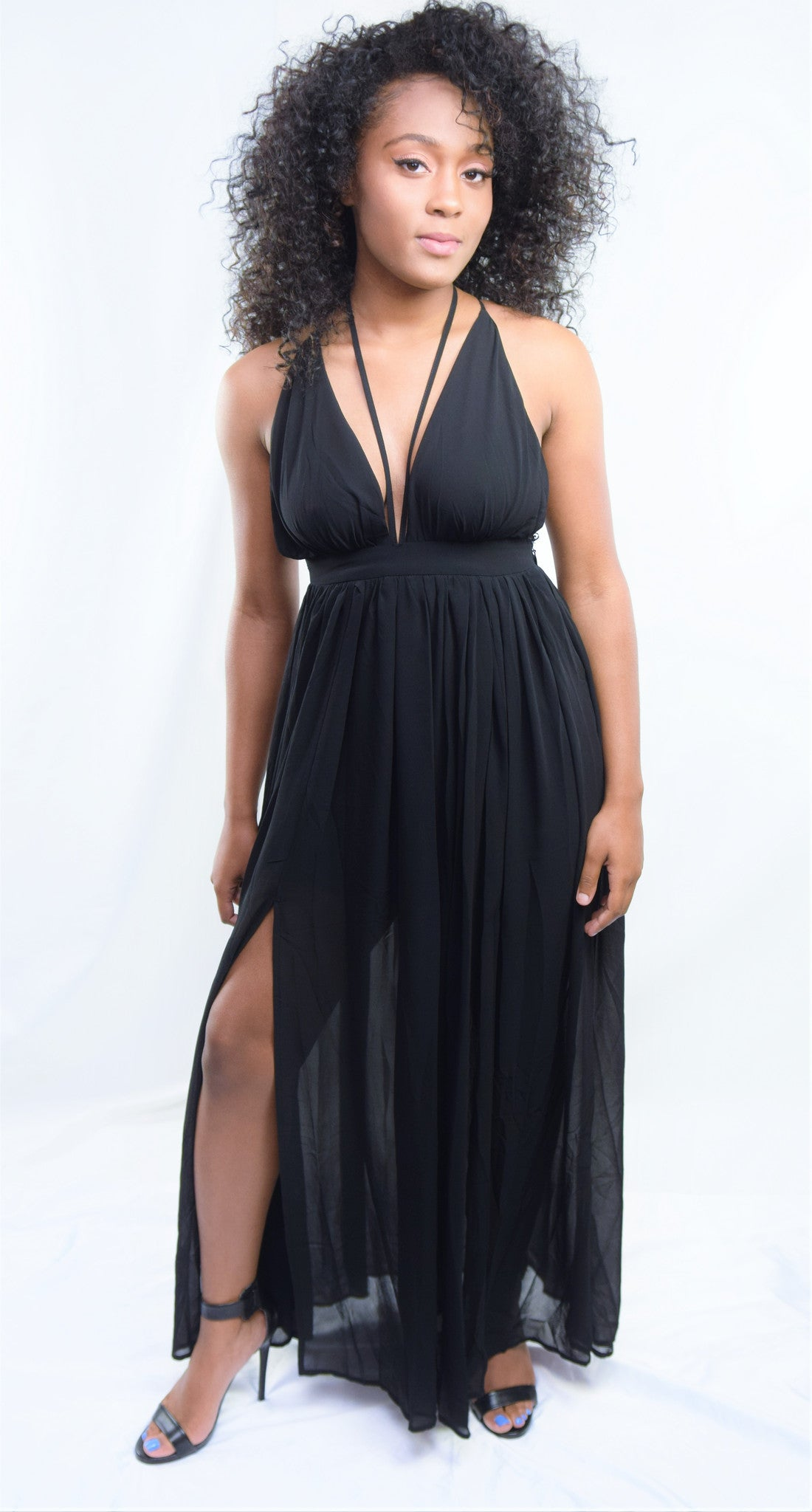 The Get Away Solid V Neck Open Back Maxi Dress - Blacque Onyx Apparel