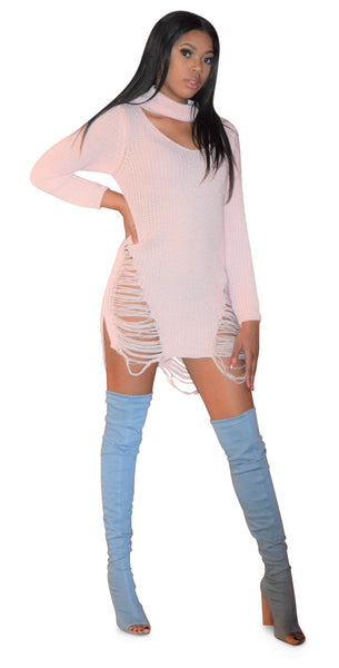 Angel Choker Neck Distressed Sweater