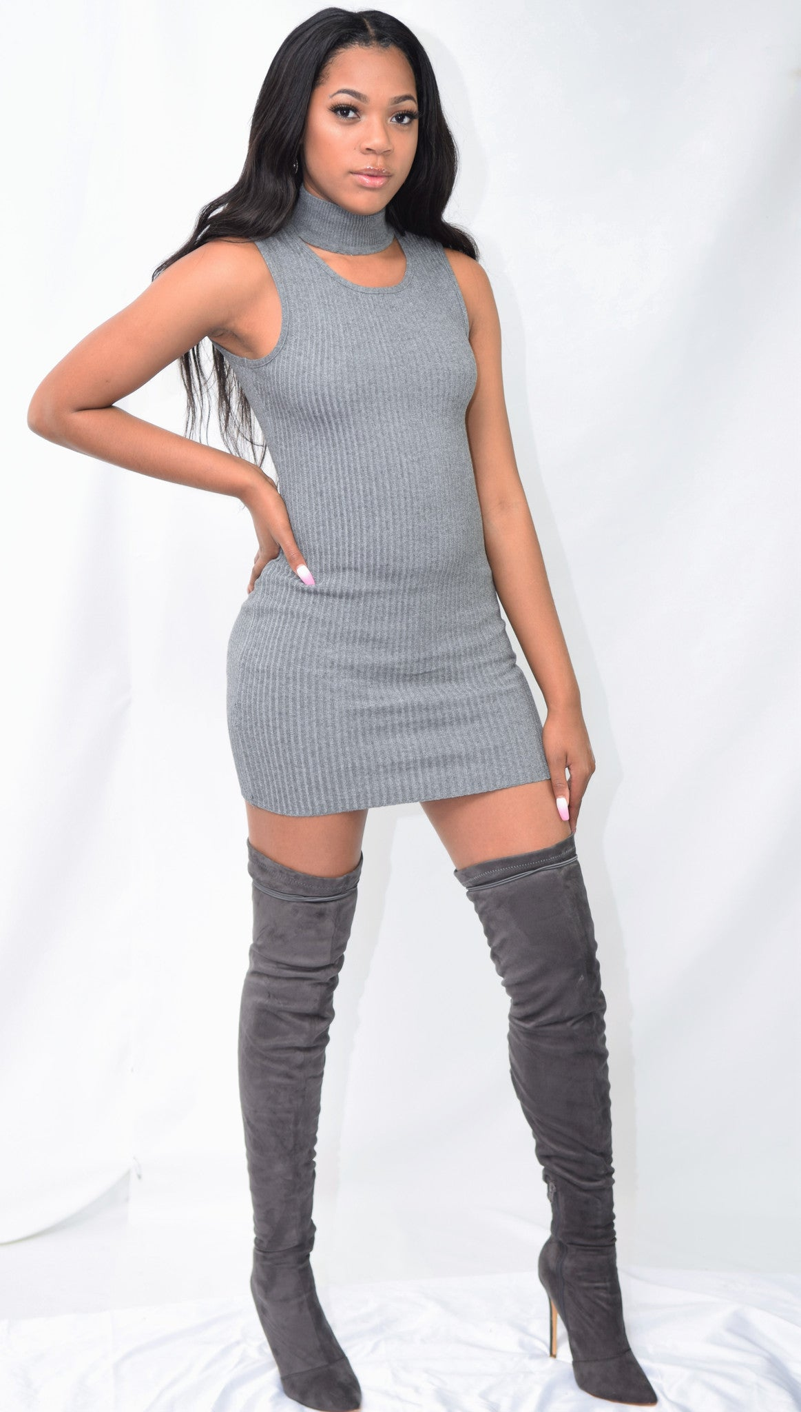 Shades of Grey Sleeveless Ribbed Sweater Dress - Blacque Onyx Apparel