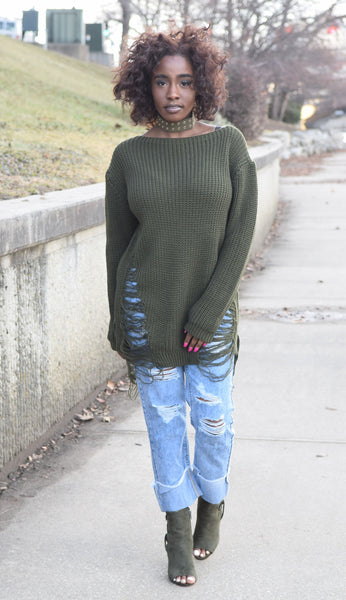 Poise N' Ivy Boat Neck Frayed Sweater