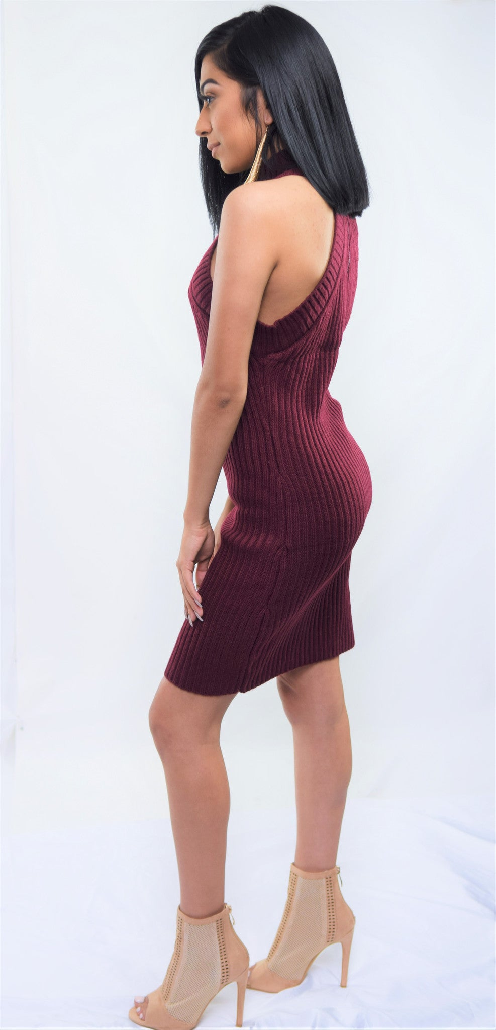 Merlot Sleeveless Ribbed Sweater Dress - Blacque Onyx Apparel