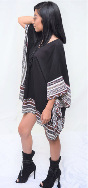 Tribal Print Tunic with Kimono Sleeve - Blacque Onyx Apparel