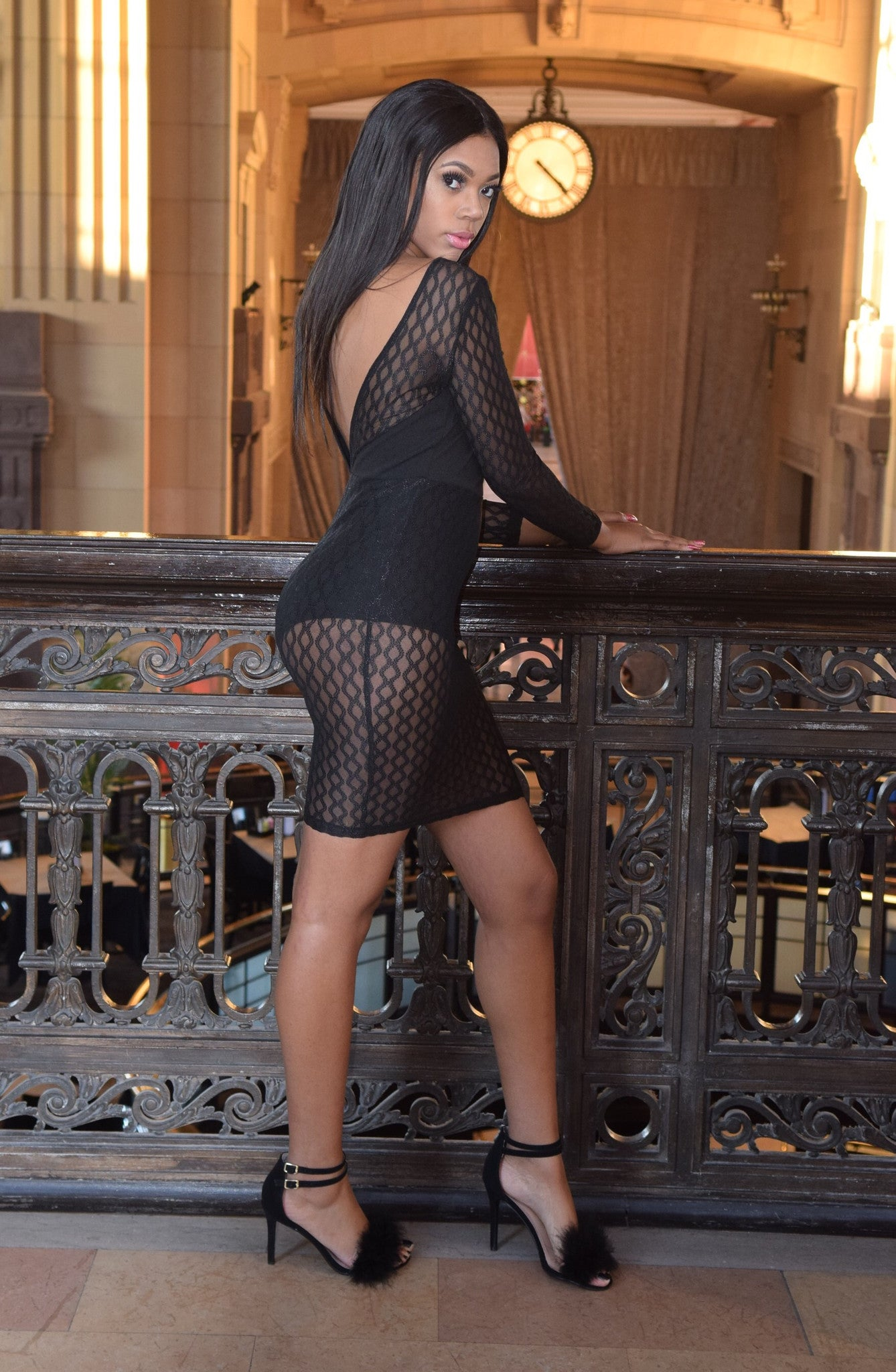 The Matrix Black Mesh Dress