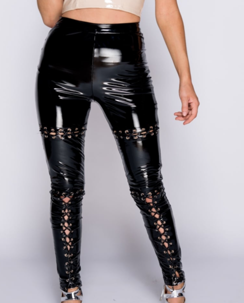 City Slicker Wetlook Lace Up Trouser Pant