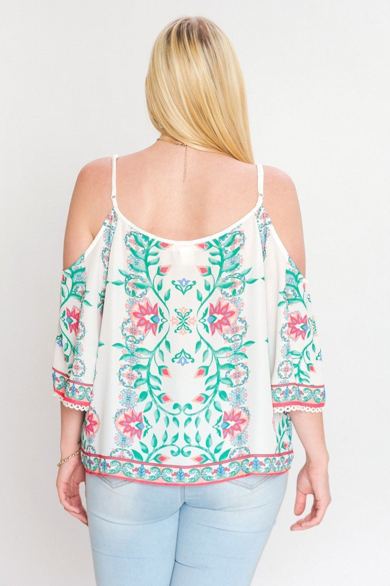 Floral Accent Cold Shoulder Top