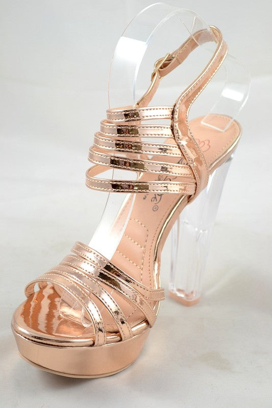 Chrome Lux Metallic Platform Heel