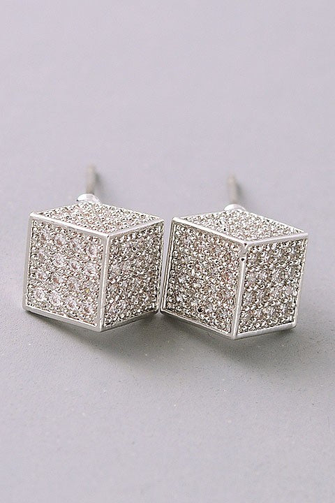 Cubic Zirconia Square Stud Earrings