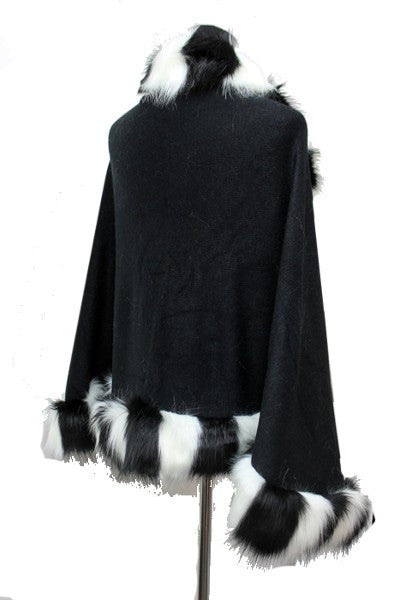 Two Tone Striped Fur Poncho