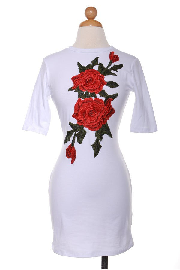 Rosie Her Floral Applique T-Shirt Dress