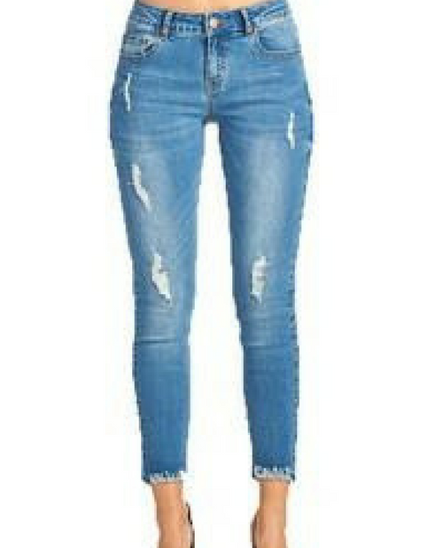 Distressed Fringed Hem Denim Pants