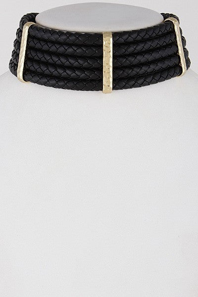Braided Bar Layered Choker Necklace