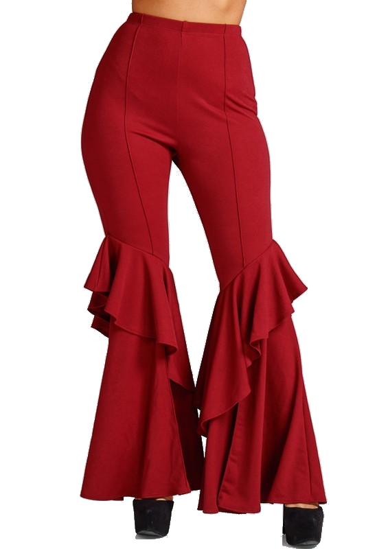 Techno Ruffle Bell Bottom Pants