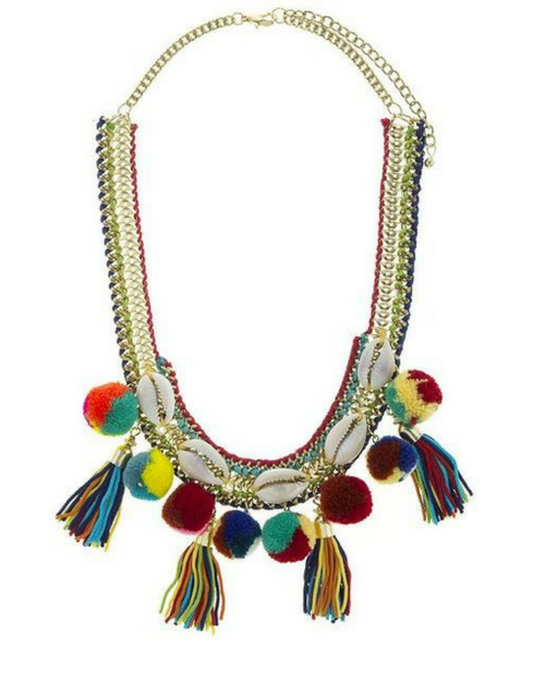 Shell Accent PomPom Bib Necklace