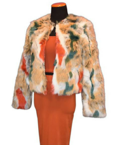 Brick Multi Color Fur Jacket